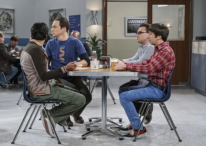 """""""The Geology Elevation"""" -- Pictured: Rajesh Koothrappali (Kunal Nayyar), Sheldon Cooper (Jim Parsons), Leonard Hofstadter (Johnny Galecki) and Howard Wolowitz (Simon Helberg). When Bert (Brian Posehn), a Caltech geologist, wins the MacArthur Genius fellowship, Sheldon is overcome with jealousy. Also, Wolowitz finds an old remote control Stephen Hawking action figure he invented, on THE BIG BANG THEORY, Thursday, Nov. 17 (8:00-8:31 PM, ET/PT), on the CBS Television Network. Stephen Hawking returns to guest star as himself. Photo: Monty Brinton/CBS ©2016 CBS Broadcasting, Inc. All Rights Reserved."""