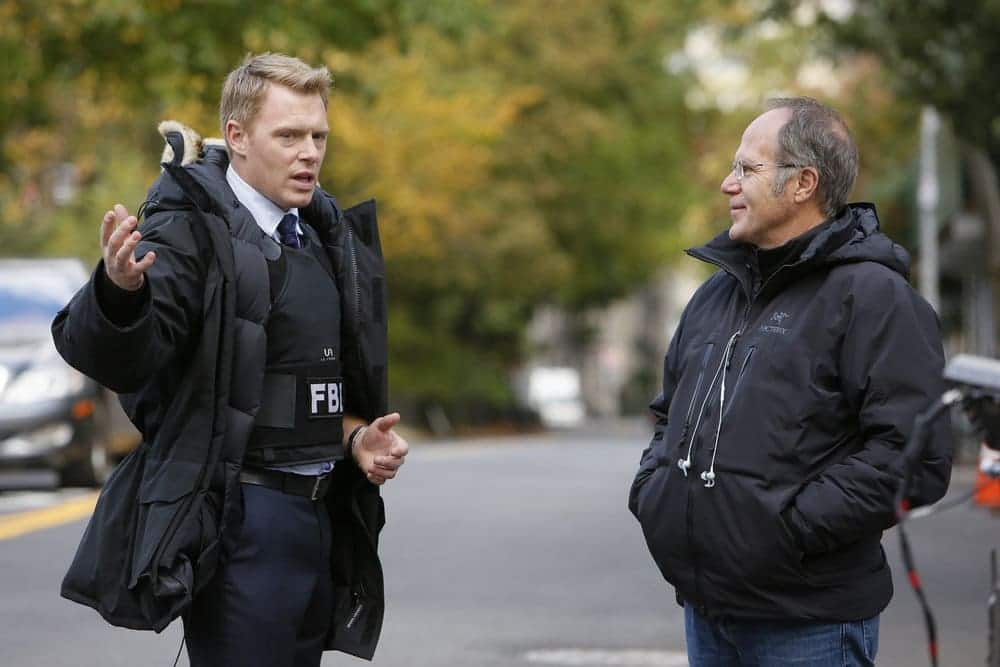 """THE BLACKLIST -- """"Lipet's Seafood Company #111"""" Episode 409 -- Pictured: (l-r) Diego Klattenhoff as Donald Ressler, Director Don Thorin"""