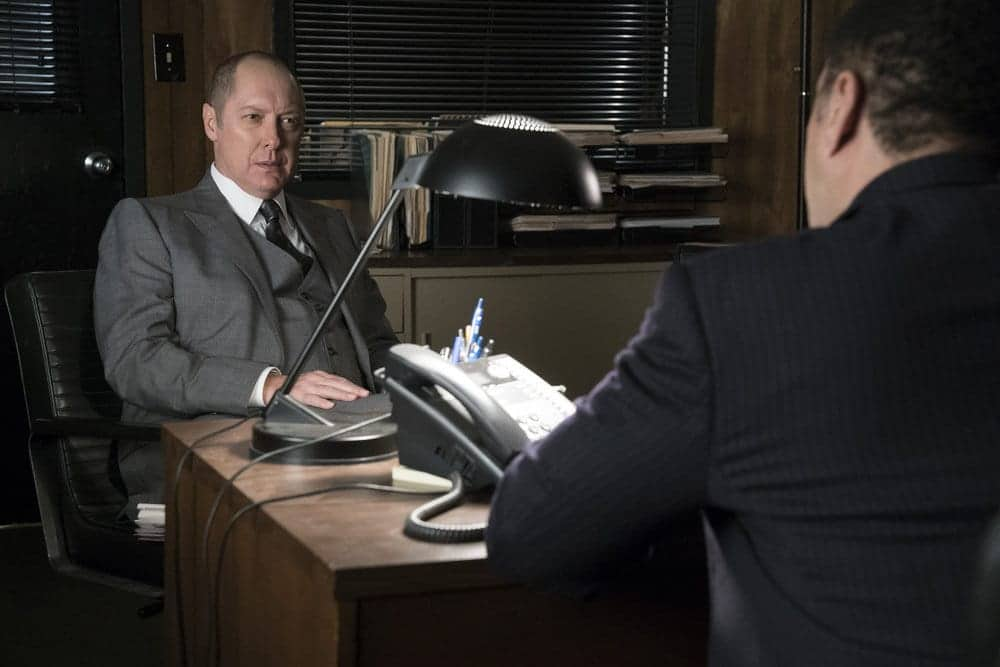 """THE BLACKLIST -- """"Lipet's Seafood Company #111"""" Episode 409 -- Pictured: (l-r) James Spader as Raymond """"Red"""" Reddington, Harry Lennix as Harold Cooper"""
