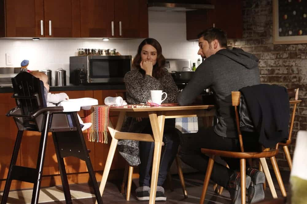 """THE BLACKLIST -- """"Natalie Luca #184"""" Episode 412 -- Pictured: (l-r) Baby Agnes, Megan Boone as Elizabeth Keen, Ryan Eggold as Tom Keen -- (Photo by: Will Hart/NBC)"""