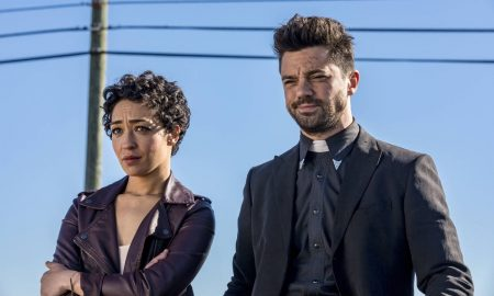 Dominic Cooper as Jesse Custer, Ruth Negga as Tulip O'Hare; group - Preacher _ Season 2, Episode 1 - Photo Credit: Skip Bolen/AMC