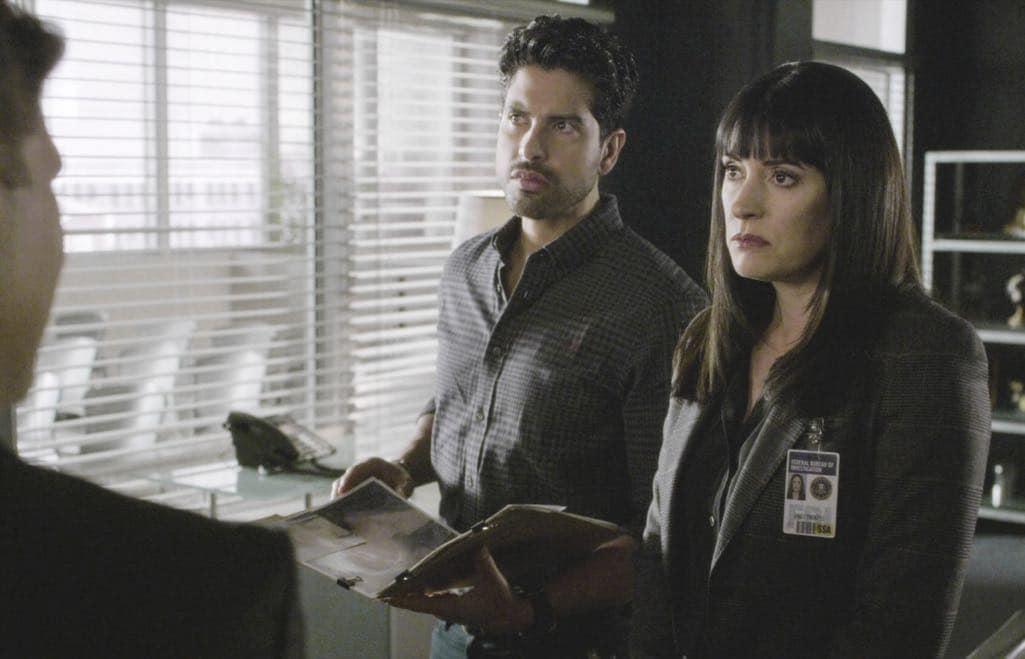 Adam Rodriguez (Luke Alvez), Paget Brewster (Emily Prentiss) Criminal Minds