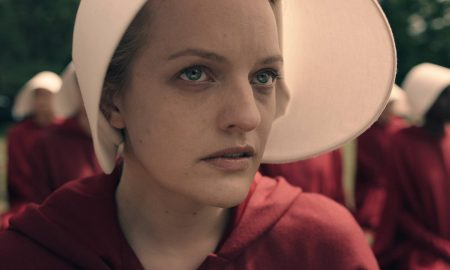 "THE HANDMAID'S TALE -- ""Offred"" - Episode 101 - Offred, one the few fertile women known as Handmaids in the oppressive Republic of Gilead, struggles to survive as a reproductive surrogate for a powerful Commander and his resentful wife. Offred (Elisabeth Moss), shown. (Photo by: Take Five/Hulu)"