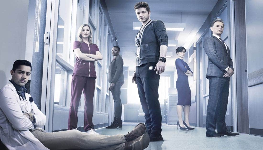 THE RESIDENT: L-R: Manish Dayal, Emily VanCamp, Shaunette Renée Wilson, Matt Czuchry, Valerie Cruz and Bruce Greenwood in THE RESIDENT premiering midseason on FOX. ©2017 Fox Broadcasting Co. Cr: Justin Stephens/FOX