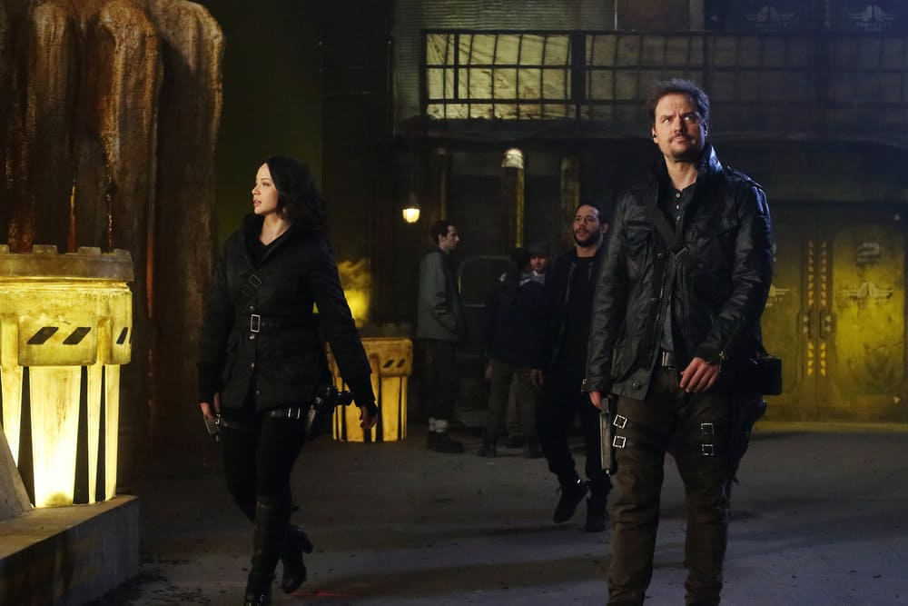 """DARK MATTER -- """"Welcome To The Revolution"""" Episode 303 -- Pictured: (l-r) Melissa O'Neil as Two, Anthony Lemke as Three"""