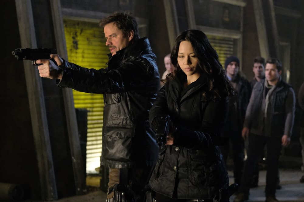 """DARK MATTER -- """"Welcome To The Revolution"""" Episode 303 -- Pictured: (l-r) Anthony Lemke as Three, Melissa O'Neil as Two"""