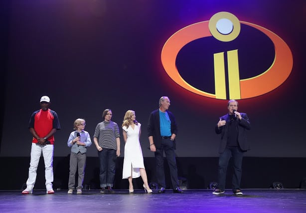 ANAHEIM, CA - JULY 14:  (L-R) Actors Samuel L. Jackson, Huck Milner, Sarah Vowell, Holly Hunter, and Craig T. Nelson and director Brad Bird of INCREDIBLES 2 took part today in the Walt Disney Studios live action/animation presentation at Disney's D23 EXPO 2017 in Anaheim, Calif. INCREDIBLES 2 will be released in U.S. theaters on June 15, 2018.  (Photo by Jesse Grant/Getty Images for Disney)