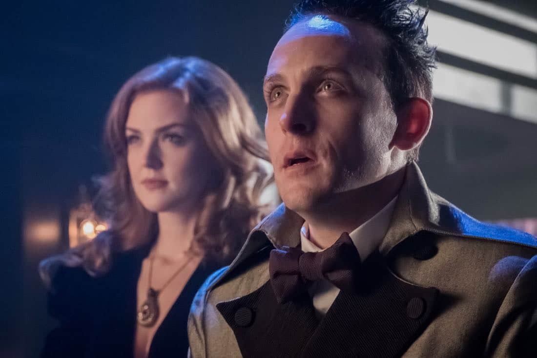 "GOTHAM: L-R: Maggie Geha and Robin Lord Taylor in the ""Pax Penguina"" season premiere episode of GOTHAM airing Thursday, Sept. 21 (8:00-9:01 PM ET/PT) on FOX. ©2017 Fox Broadcasting Co. Cr: Jeff Neumann/FOX."
