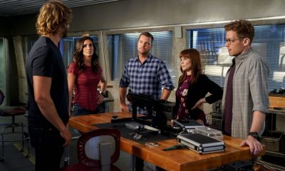 """""""Party Crashers"""" -- Pictured: Daniela Ruah (Special Agent Kensi Blye), Chris O'Donnell (Special Agent G. Callen), Renée Felice Smith (Intelligence Analyst Nell Jones), and Barrett Foa (Tech Operator Eric Beale). After Hetty turns in retirement papers and then disappears, Executive Assistant Director Shay Mosley (Nia Long) arrives in Los Angeles to oversee the team and immediately makes staffing changes. Also, still mourning the death of his wife and living in a trailer on the beach, Sam is adamant that Callen should find a new partner, on the ninth season premiere of NCIS: LOS ANGELES, Sunday, Oct. 1 (9:30-10:30, ET/PT) on the CBS Television Network. Photo: Erik Voake/CBS ©2017 CBS Broadcasting, Inc. All Rights Reserved"""
