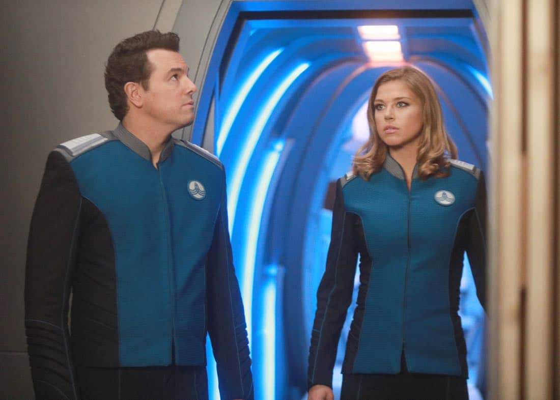 """THE ORVILLE: L-R: Seth MacFarlane and Adrianne Palicki in the """"Command Performance"""" episode of THE ORVILLE, the second part of the two-night special series premiere airing Sunday, Sept. 17 (8:00-9:00 PM ET LIVE to all Time Zones), immediately following the NFL Doubleheader on FOX. ©2017 Fox Broadcasting Co. Cr: Michael Becker/FOX"""