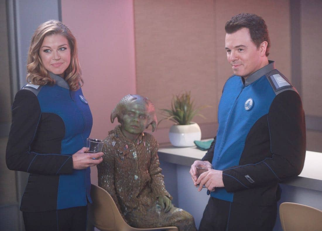 """THE ORVILLE:  L-R:  Adrianne Palicki and Seth MacFarlane in the """"Command Performance"""" episode of THE ORVILLE, the second part of the two-night special series premiere airing Sunday, Sept. 17 (8:00-9:00 PM ET LIVE to all Time Zones), immediately following the NFL Doubleheader on FOX. ©2017 Fox Broadcasting Co. Cr:  Jordin Althaus/FOX"""