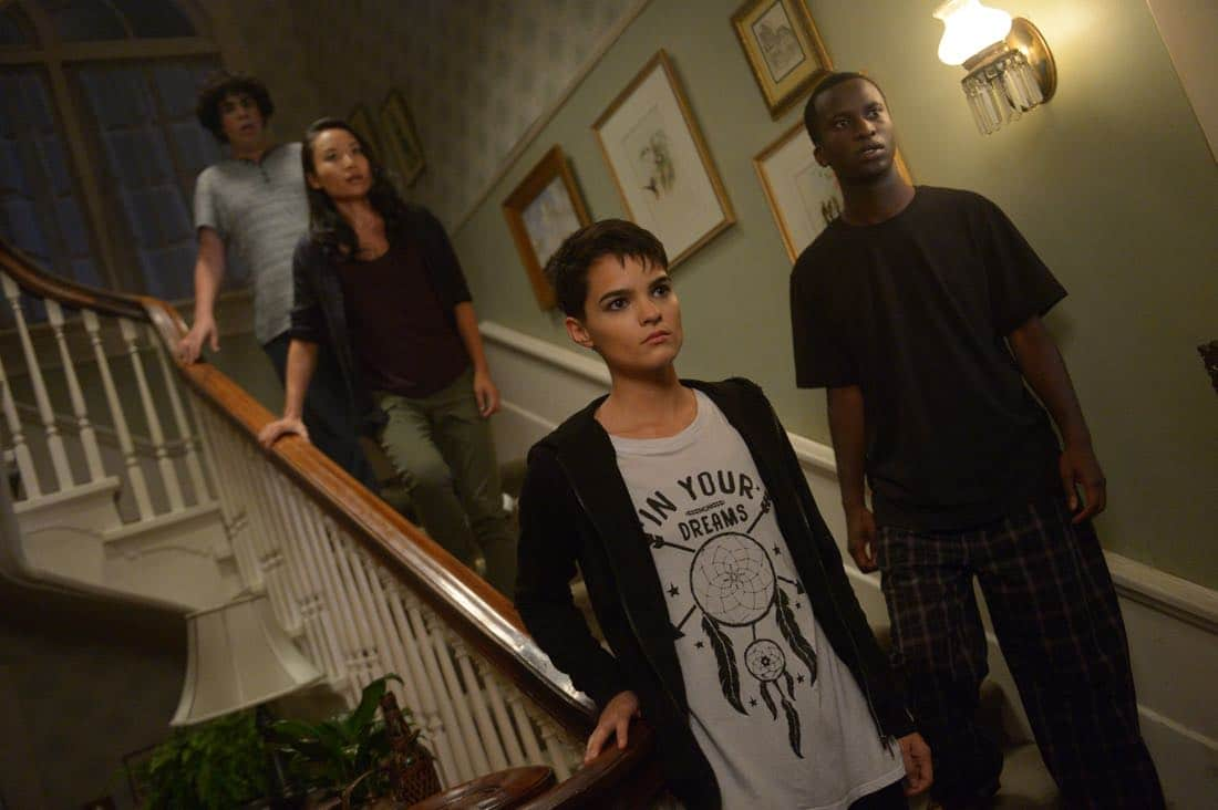 "THE EXORCIST: L-R: Guest star Cyrus Arnold, Li Jun Li, Brianna Hildebrand and guest star Alex Barima in the ""Janus"" season premiere episode of THE EXORCIST airing Friday, Sept. 29 (9:00-10:00 PM ET/PT) on FOX. ©Fox Broadcasting Co. Cr: Sergei Bachlakov/FOX"