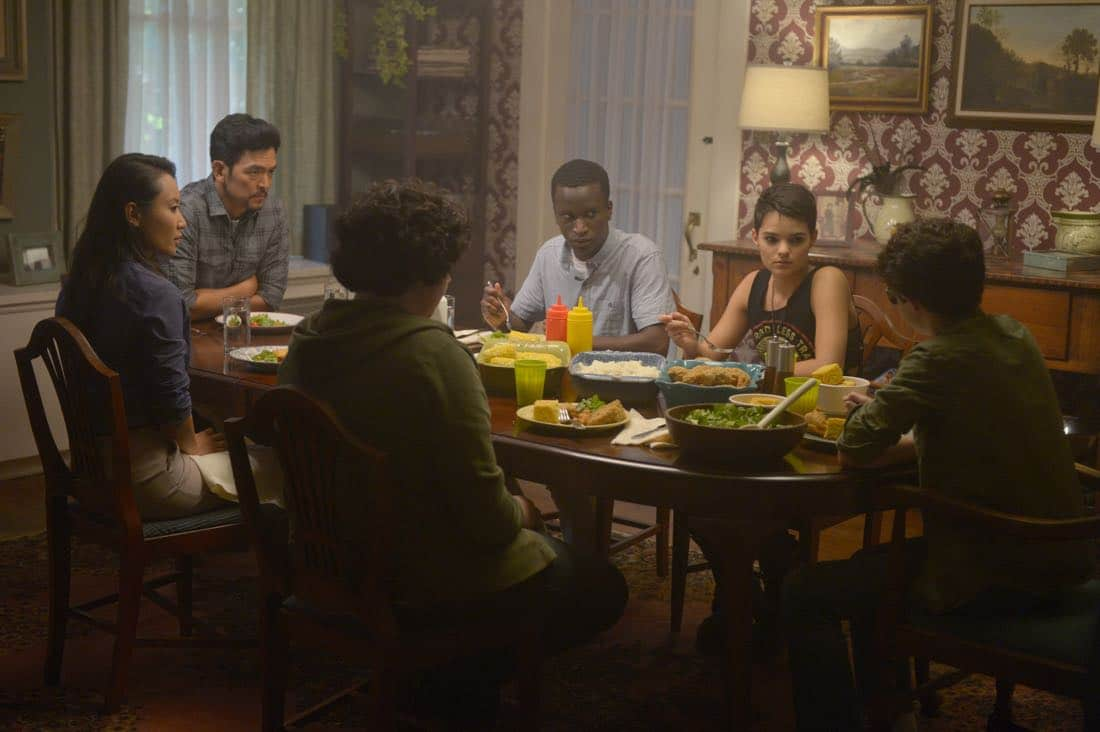 "THE EXORCIST: L-R: Li Jun Li, John Cho, guest star Alex Barima, Brianna Hildebrand and guest star Hunter Dillonin the ""Janus"" season premiere episode of THE EXORCIST airing Friday, Sept. 29 (9:00-10:00 PM ET/PT) on FOX. ©Fox Broadcasting Co. Cr: Sergei Bachlakov/FOX"