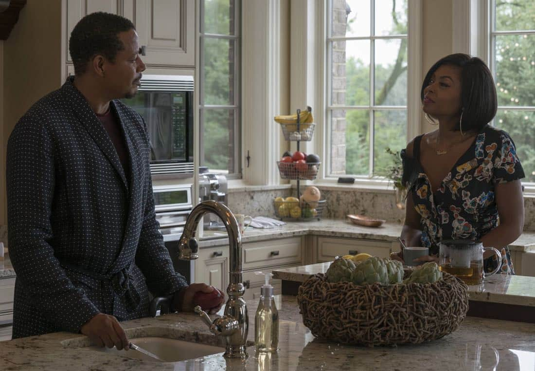 """EMPIRE: Pictured L-R: Terrence Howard and Taraji P. Henson in the """"Noble Memory"""" episode of EMPIRE premiering Wednesday, Sept. 27 (8:00-9:00 PM ET/PT) on FOX. ©2017 Fox Broadcasting Co. CR: Chuck Hodes/FOX"""