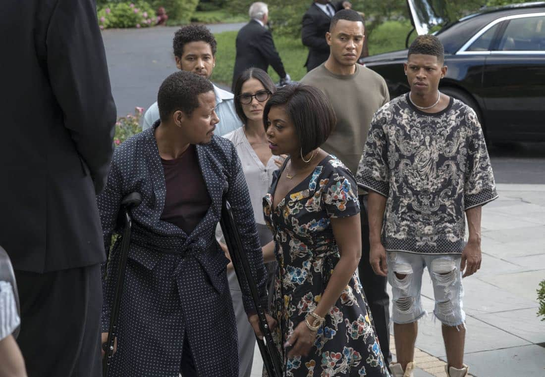 """EMPIRE: Pictured L-R: Terrence Howard, Jussie Smollett, guest star Demi Moore, Taraji P. Henson, Trai Byers and Bryshere Gray in the """"Noble Memory"""" episode of EMPIRE premiering Wednesday, Sept. 27 (8:00-9:00 PM ET/PT) on FOX. ©2017 Fox Broadcasting Co. CR: Chuck Hodes/FOX"""
