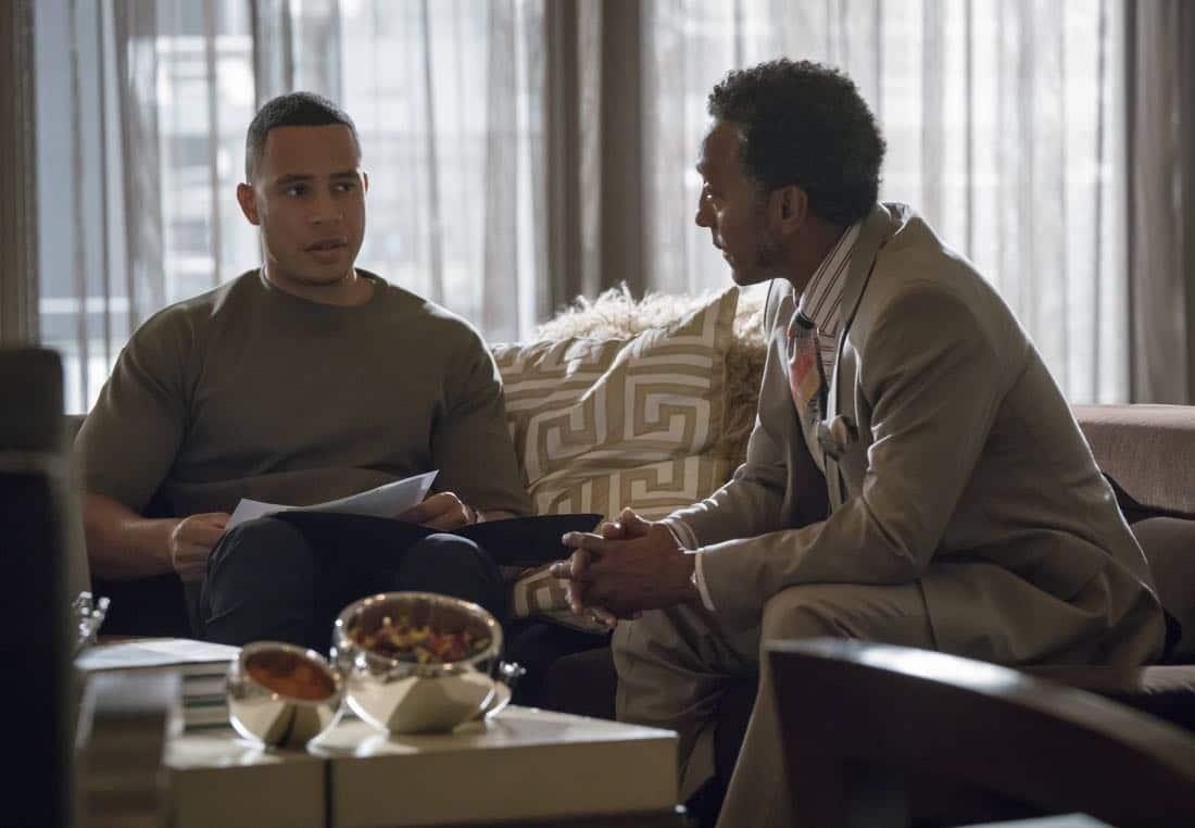 """EMPIRE: Pictured L-R: Trai Byers and Andre Royo in the """"Noble Memory"""" episode of EMPIRE premiering Wednesday, Sept. 27 (8:00-9:00 PM ET/PT) on FOX. ©2017 Fox Broadcasting Co. CR: Chuck Hodes/FOX"""