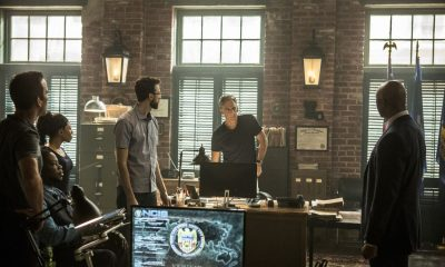 """""""The Asset"""" -- Pride and his team join forces with FBI Director Isler (Derek Webster) after a Russian operative who's in the states to provide intel on sleeper agents, disappears after his Navy escort is murdered. Also, Tammy partners with former sleeper agent Eva Azarova (Cassidy Freeman) to locate the missing operative who Eva has known since childhood, on NCIS: NEW ORLEANS, Tuesday, Oct. 3 (10:00-11:00 PM, ET/PT) on the CBS Television Network. Pictured L-R: Lucas Black as Special Agent Christopher LaSalle, Shalita Grant as Sonja Percy, Rob Kerkovich as Forensic Scientist Sebastian Lund, Scott Bakula as Special Agent Dwayne Pride, and Derek Webster as FBI Assistant Director Isler Photo: Skip Bolen/CBS ©2017 CBS Broadcasting, Inc. All Rights Reserved"""