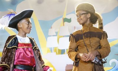 "BLACK-ISH - ""Juneteenth"" - The Johnsons go to Jack and Diane's school play about Columbus Day, and Dre is dismayed by the historically inaccurate way that the holiday is portrayed. He feels like there aren't enough black holidays, so he enlists Aloe Blacc at work to help him create a catchy song to raise awareness for a holiday worth celebrating, Juneteenth, on the season premiere of ""black-ish,"" TUESDAY, OCTOBER 3 (9:00-9:30 p.m. EDT), on The ABC Television Network. (ABC/Kelsey McNeal) MILES BROWN, MARSAI MARTIN"
