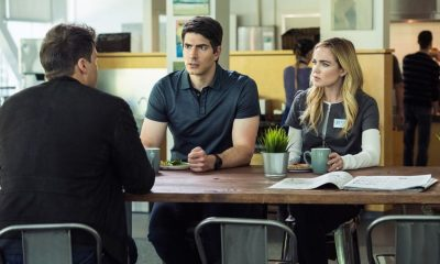 "DC's Legends of Tomorrow -- ""Aruba-Con"" -- Image Number: LGN301b_0162.jpg -- Pictured (L-R): Nick Zano as Nate Heywood/Steel, Brandon Routh as Ray Palmer/Atom and Caity Lotz as Sara Lance/White -- Photo: Dean Buscher/The CW © 2017 The CW Network, LLC. All Rights Reserved."