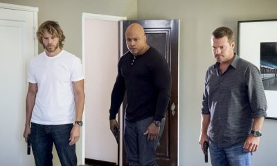 """Assets"" -- Pictured: Eric Christian Olsen (LAPD Liaison Marty Deeks), LL COOL J (Special Agent Sam Hanna) and Chris O'Donnell (Special Agent G. Callen). During the murder investigation of a Navy Lieutenant on leave in Los Angeles, the NCIS team uncovers classified surveillance briefs she smuggled into the city that may have been sold to a foreign buyer, on NCIS: LOS ANGELES, Sunday, Oct. 8 (9:00-10:00 PM, ET/PT) on the CBS Television Network. Photo: Bill Inoshita/CBS ©2017 CBS Broadcasting, Inc. All Rights Reserved."