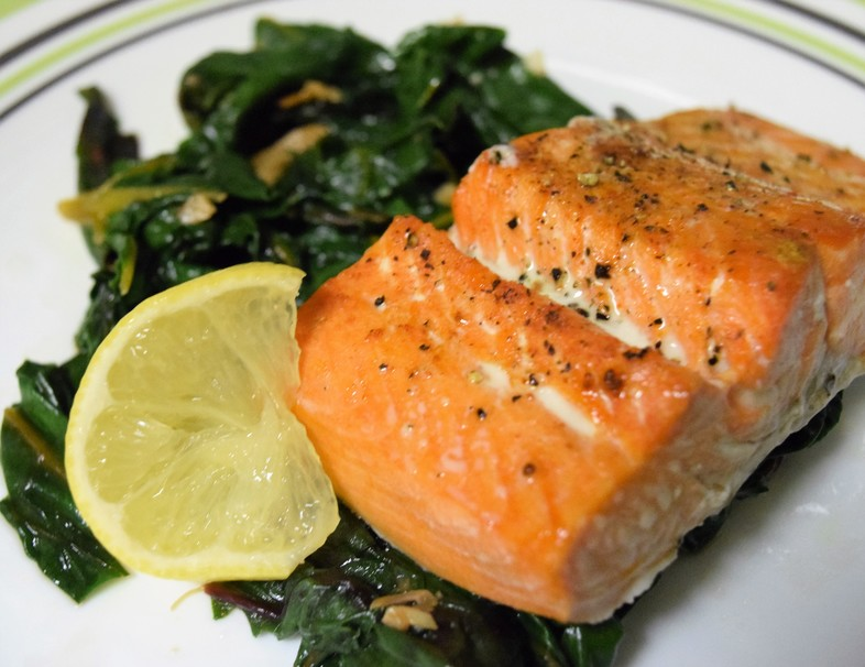 Broiled Salmon and Garlic Chard