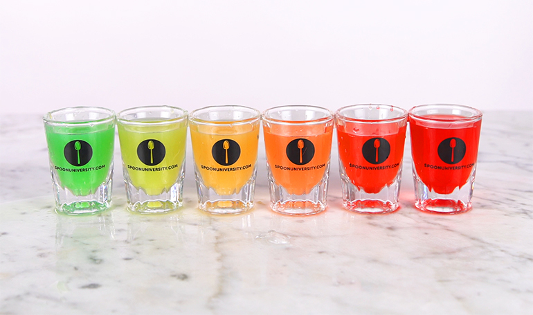how to make boozy rainbow shots in 5 minutes