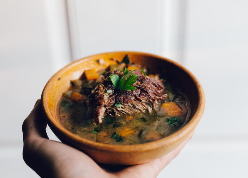 pork, beef, meat, vegetable, soup