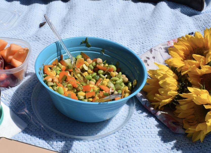 Pâtes, succotash, pois, maïs, légumes, légumineuses