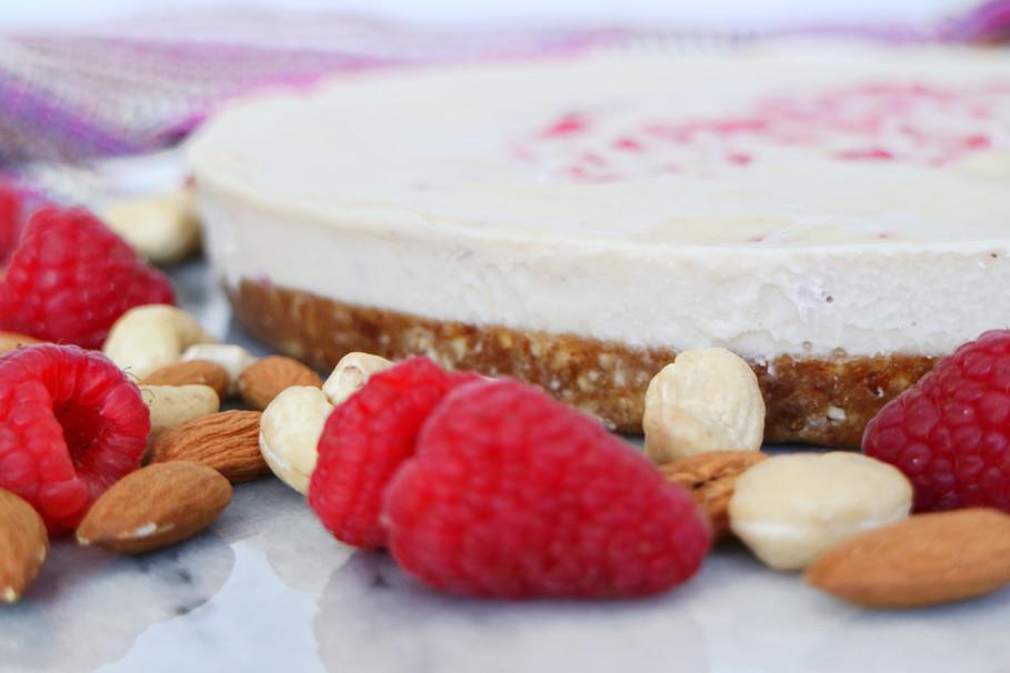 Raw Vegan White Chocolate Raspberry Cheesecake