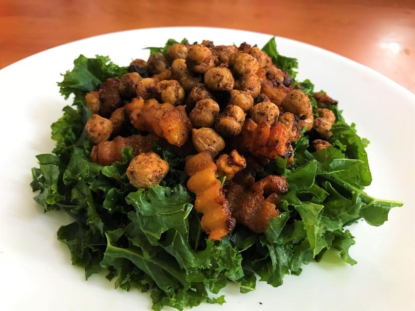 Vegan Caesar Kale Salad with Roasted Squash and Crispy Chickpeas