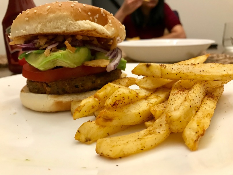 No-Fry Burger and Fries Dinner, experimenting with an Airfryer