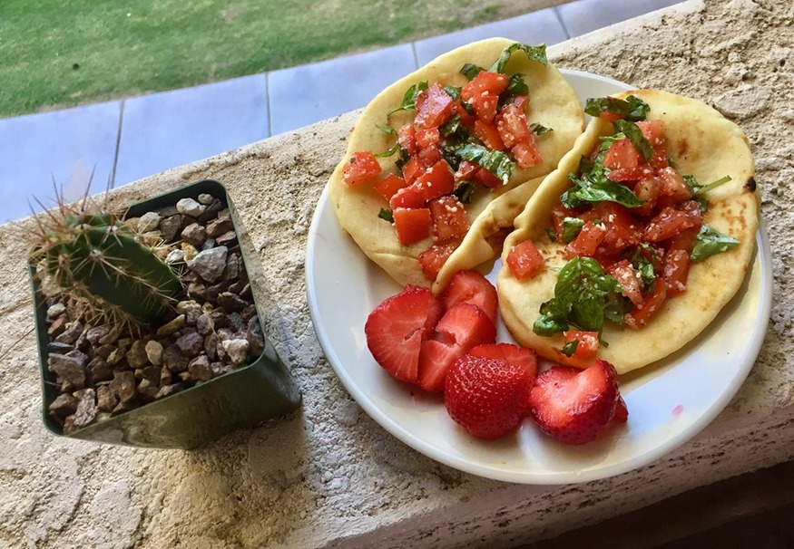 Crispy Naan Tacos with Tomatoes and Basil