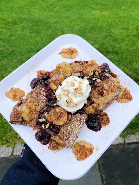 The BEST Blueberry-Banana Sourdough French Toast