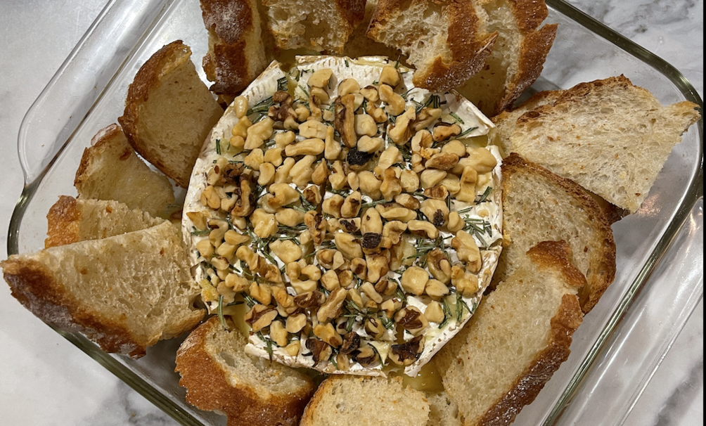 Addicting Garlic, Rosemary, and Walnut Baked Brie