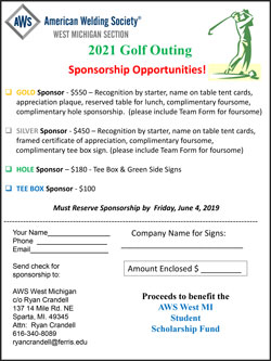 AWS West Michigan 2021 Golf Outing Sponsorship Opportunities