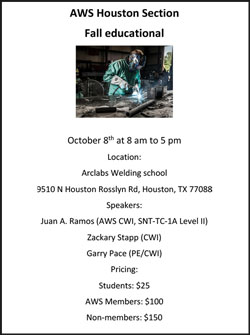 AWS Houston Section Fall Educational Announcement