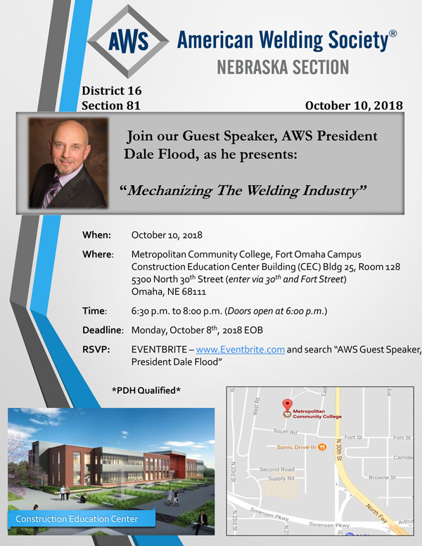 AWS Nebraska Section - AWS President Visit: Dale Flood - October 10th
