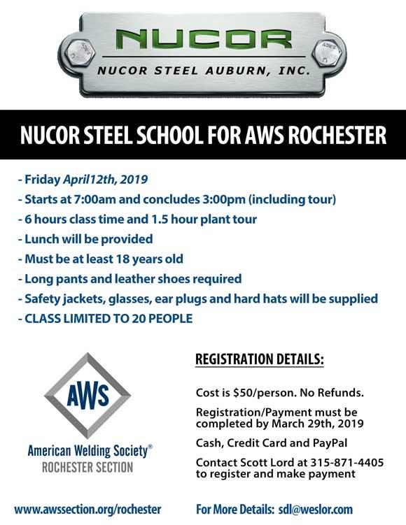 Nucor Steel School for AWS Rochester – AWS Rochester Section