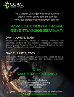 Canadian Center for Welding and Joining Seminar Announcement