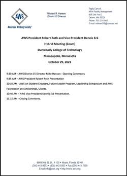 AWS District 15 Meeting Agenda