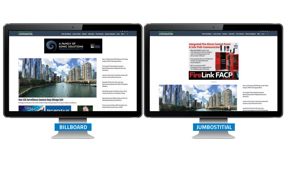 Security Sales & Integration Banner Ads - Billboard / Jumbostitial