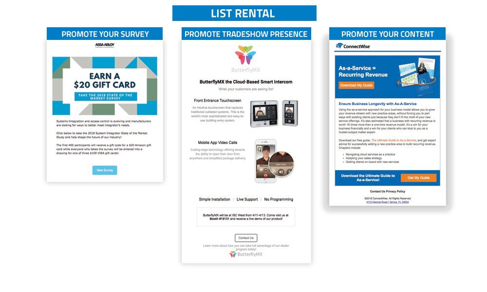 Security Sales & Integration - Targeted List Rentals