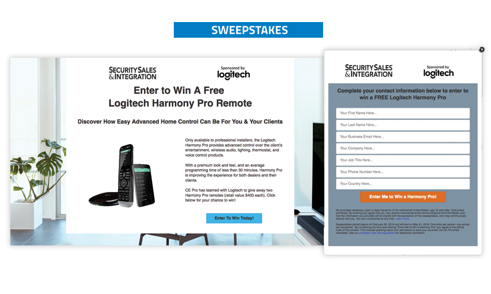 Security Sales & Integration - Sweepstakes