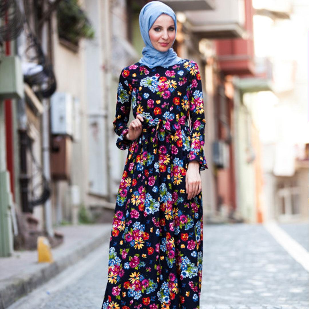 378fce613e69e فستان تركي للمحجبات منقوش بالورود
