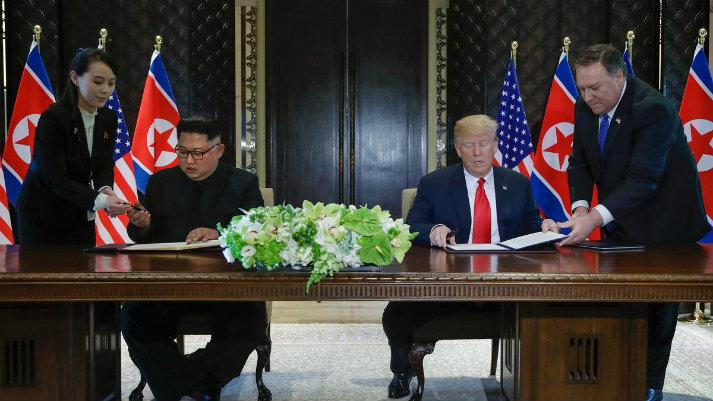 """Donald Trump y Kim Jong-un firmaron declaración conjunta sobre """"paz, prosperidad y seguridad"""""""