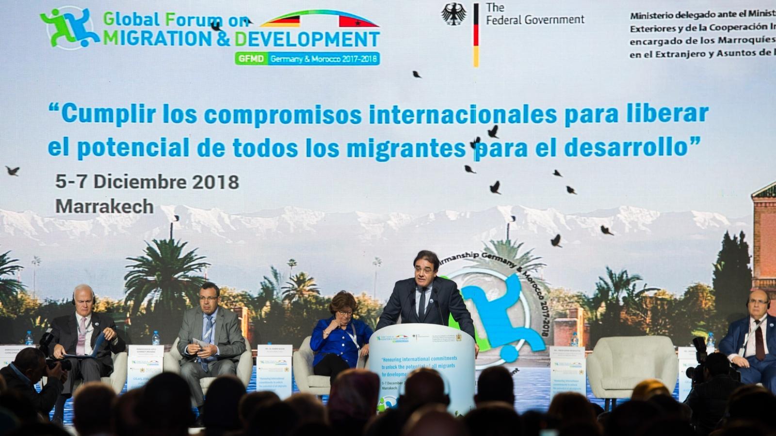 Representantes del mundo se reúnen en Marruecos para hablar de migración