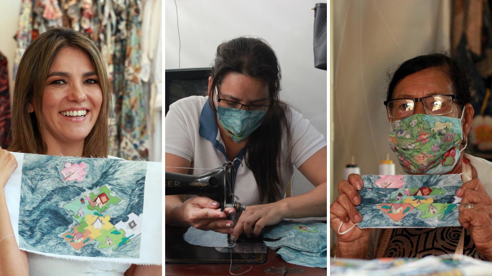 Tapabocas con sello de migrantes y desplazadas emprendedoras