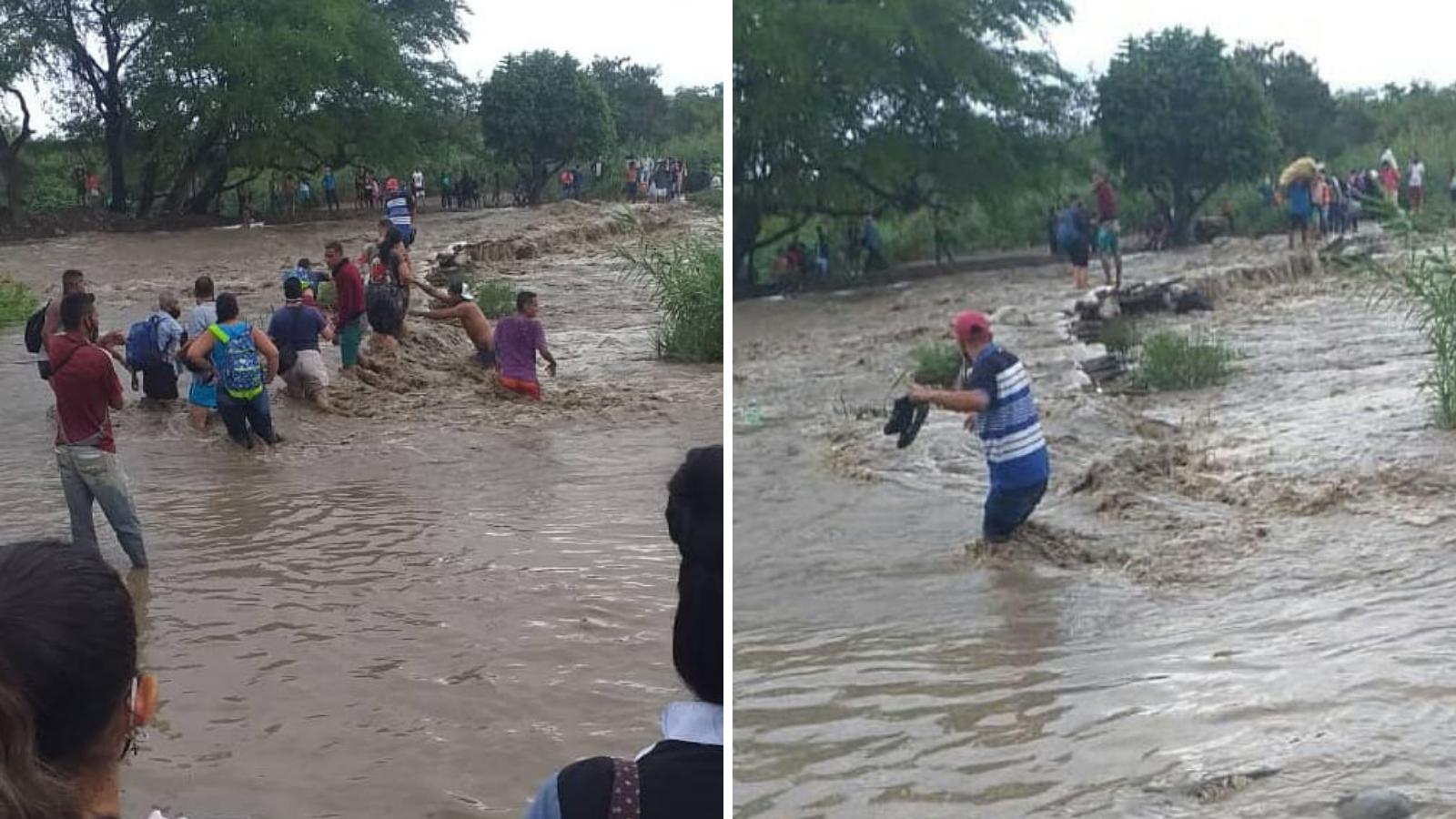 Migrantes se arriesgan a cruzar río crecido en la frontera