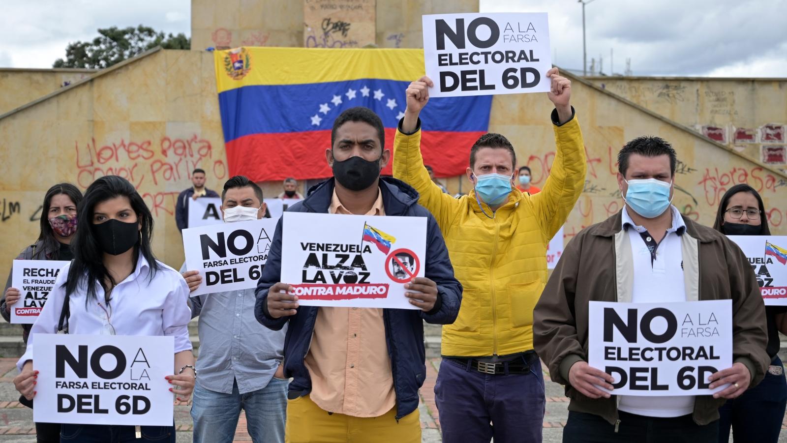 Protestas en Bogotá por elecciones parlamentarias de Maduro