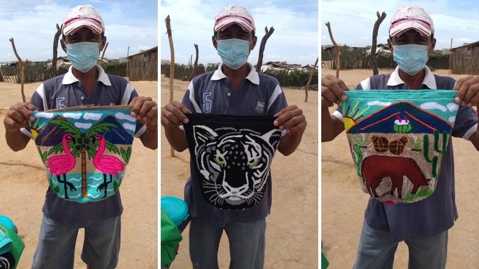 Un desplazado wayuu reconstruye su vida bordando tapices en Uribia